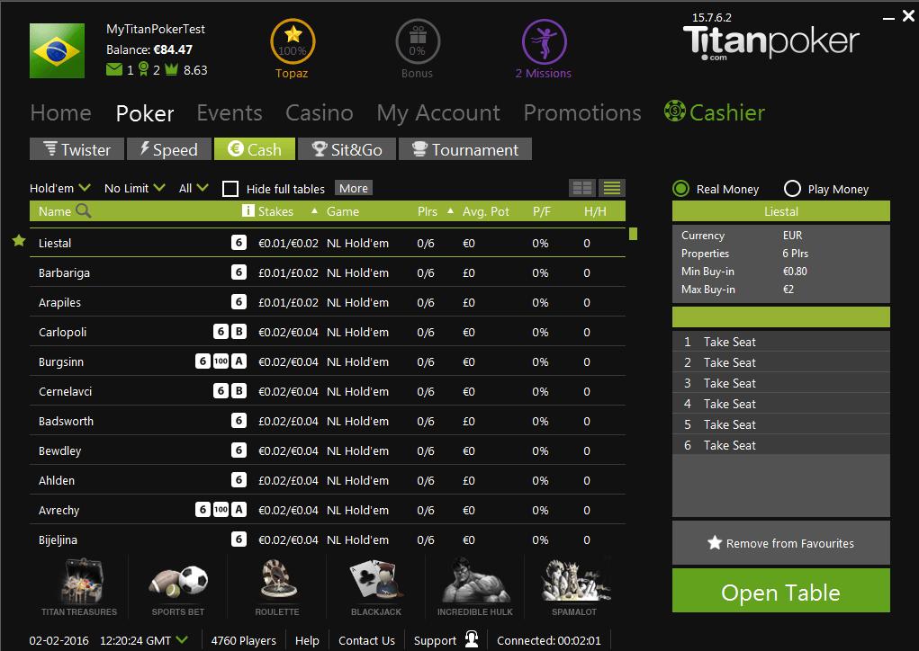 Кэш-игры в Titan Poker